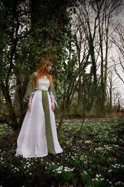 Rebecca Knowles MEDIEVAL WOMAN WITH RED HAIR IN COUNTRYSIDE Women