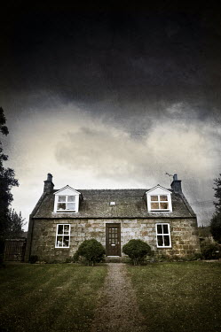 John Cooper SMALL COTTAGE WITH STORMY SKY Houses