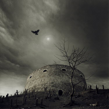 Christophe Dessaigne MARTELLO WATCHTOWER AT NIGHT Miscellaneous Buildings