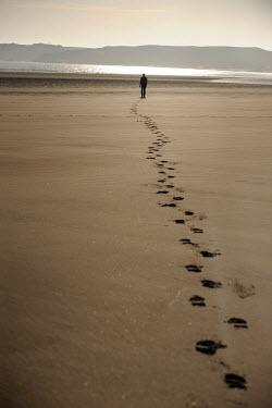 Clint Hughes MAN WALKING ON SANDY BEACH Men