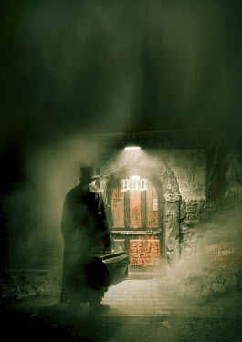 Christophe Dessaigne VICTORIAN MAN BY STRANGE DOOR AT NIGHT Men