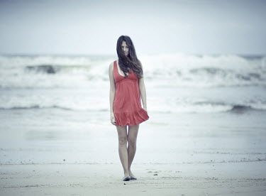 Dylan Kitchener GIRL IN RED DRESS ON BEACH Women