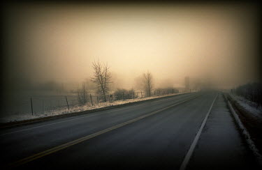 Gary Isaacs STRAIGHT ROAD IN WINTER FOG Roads