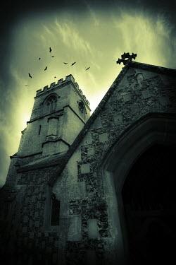 Trevor Payne OLD STONE CHURCH WITH BIRDS Religious Buildings
