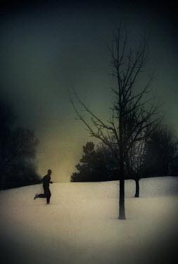 Gary Isaacs MAN RUNNING IN SNOWY FIELD Men