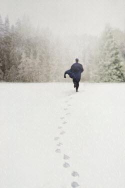Susan Fox MAN RUNNING IN SNOW Men