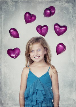 Vanesa Munoz HAPPY GIRL WITH HEART SHAPED BALLOONS Children