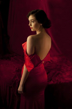 Allan Jenkins BACK OF WOMAN IN RED DRESS Women