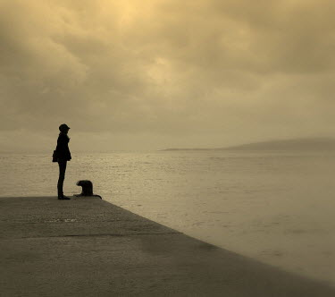 Katarina Ivicevic SILHOUETTE OF WOMAN ON JETTY Women