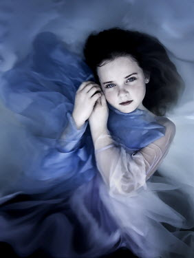 Jennifer Short GIRL WITH FLOWING BLUE DRESS IN WATER Children