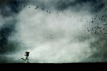 Jennifer Short GIRL WITH SKIPPING ROPE AND BIRDS Children