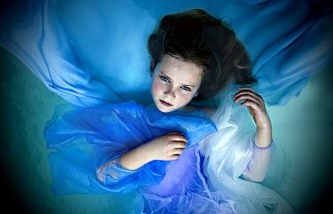 Jennifer Short GIRL FLOATING IN BLUE DRESS Children