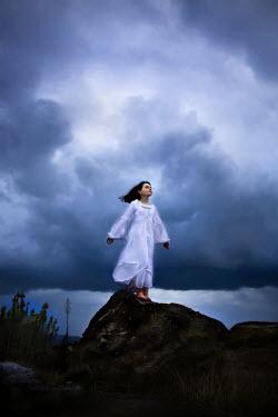 Jennifer Short GIRL IN WHITE DRESS ON ROCK Children