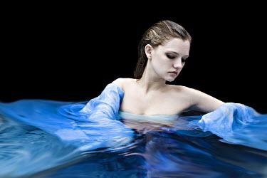 Jennifer Short SAD WOMAN IN WATER WITH BLUE DRESS Women