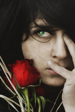 Katiuscia Bayslak FACE OF WOMAN WITH GREEN EYE AND RED ROSE Women