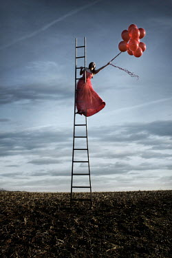 Stephen Carroll WOMAN ON LADDER WITH RED BALLOONS Women