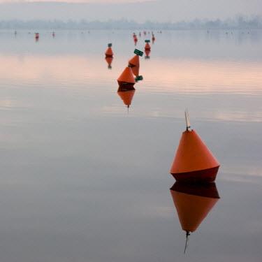 Carmen Spitznagel ORANGE BUOYS IN CALM LAKE Lakes/Rivers