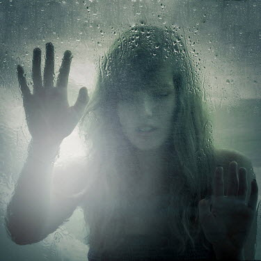 Niiv SAD WOMAN BEHIND GLASS WITH HANDS PRESSED Women