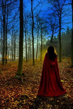 John Herbert Harrison WOMAN IN RED CAPE IN FOREST Women