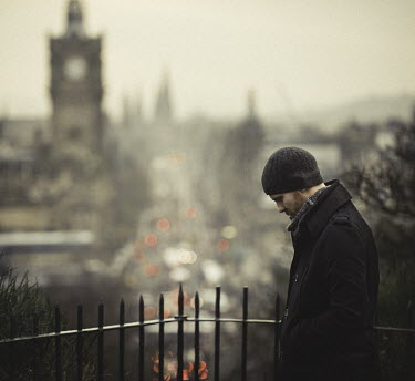 Dylan Kitchener MAN WITH RED BEARD IN WINTRY CITY Men