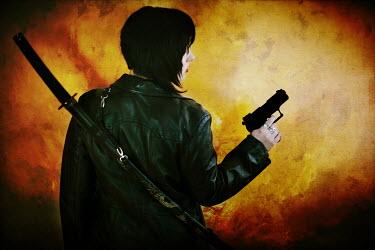 Joanna Jankowska MODERN WOMAN HOLDING GUN WITH SWORD Women