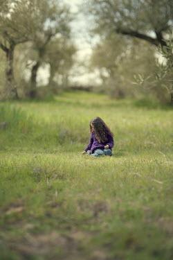 Maria Jose Rivera LITTLE GIRL KNEELING IN OLIVE GROVE Children