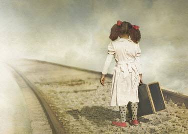 Laura Franco YOUNG GIRL WITH SUITCASE ON RAILWAY Children