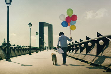Laura Franco BOY WITH BALLOONS AND DOG ON WALKWAY Children