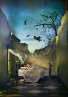 Richard Tuschman WOMAN IN BED WITH RUINED HOUSE Women