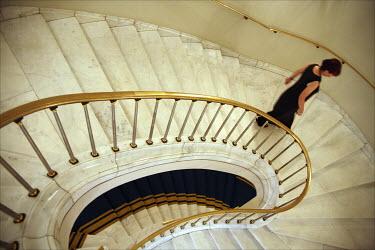 David Gibson WOMAN DESCENDING GRAND STAIRCASE Women