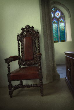 Philip Askew INTERIOR OF MEDIEVAL BUILDING WITH CHAIR Interiors/Rooms