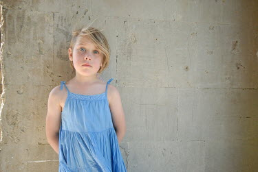 Andrew Davis YOUNG BLONDE GIRL IN BLUE DRESS Children