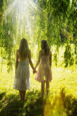 Elisabeth Ansley TWO WOMEN HOLDING HANDS BY WEEPING WILLOW Women
