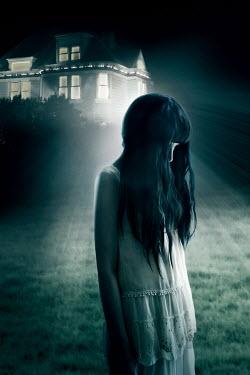 ILINA SIMEONOVA GIRL STANDING OUTSIDE HOUSE AT NIGHT Women