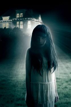 ILINA SIMEONOVA SCARY GIRL IN WHITE BY HOUSE AT NIGHT Children