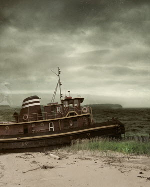 Lisa Howarth OLD TUG BOAT BY BEACH Boats