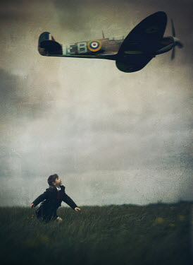 Mark Owen SCHOOLBOY IN FIELD WITH WAR PLANE Children