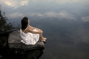 Stephen Carroll WOMAN IN WHITE DRESS BY LAKE Women