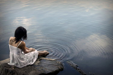 Stephen Carroll WOMAN IN WHITE DRESS WITH TOES IN LAKE Women