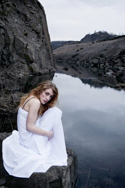 Sam Williamson WOMAN IN WHITE BY RIVER Women