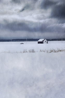 Sandra Cunningham SHACK AND TRUCK IN WINTER Snow/ Ice