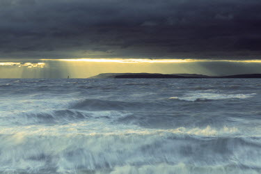 David Baker STORMY SEA WITH SUNBURST Seascapes/Beaches