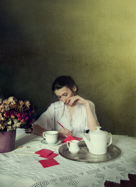 Agnieszka Kielak WOMAN WRITING LETTER DRINKING TEA Women