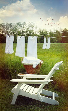 Sandra Cunningham WHITE DECKCHAIR WITH WASHING LINE Miscellaneous Objects