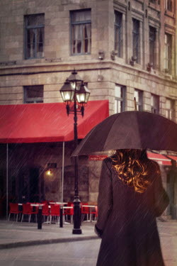 Sandra Cunningham WOMAN BY CAFE WITH UMBRELLA Women