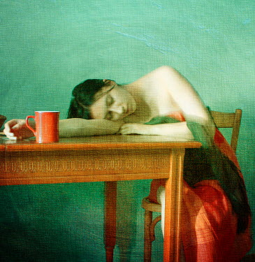 Raluca Deca WOMAN SLEEPING ON WOODEN TABLE Women