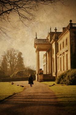 Stuart Brill WOMAN WALKING BY GRAND HOUSE Women