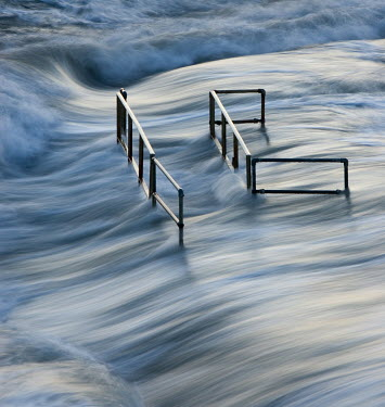 David & Jan Harris RAILINGS IN STORMY SEA Seascapes/Beaches
