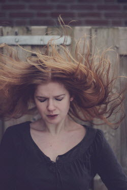 Karin Lips UNHAPPY WOMAN WITH FLOWING HAIR Women