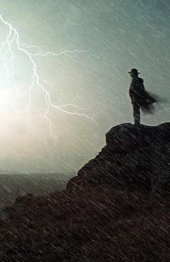 John Herbert Harrison MAN ON CLIFF WITH LIGHTENING Men